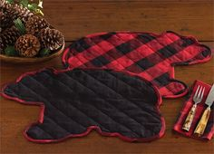 Jake's Country Trading Post - Buffalo Check Placemat - Bear Shaped, $10.50 (http://www.jakeshomeaccents.com/buffalo-check-placemat-bear-shaped/)