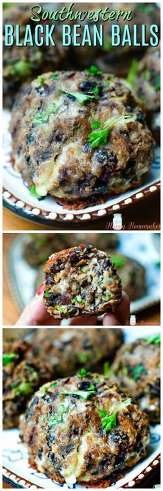 Southwestern Black Bean Balls - delicious meatless recipe with my favorite Mexican flavors like cilantro, jalapeno, & garlic. So easy to make and it freezes well too! Vegetarian Dinners, Vegetarian Recipes, Healthy Recipes, Mexican Food Recipes, Whole Food Recipes, Cooking Recipes, Bean Recipes, Vegetable Recipes, Vegan Dishes