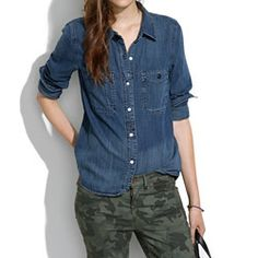 denim shirt in indigo wash with camo - looks tomboy here - but you could dress it up with a preppy v-neck cardigan or a Chanelly tweed jacket and statement necklace.