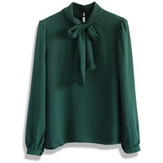 Chicwish Take a Bow Blouse in Evergreen (€33) ❤ liked on Polyvore featuring tops, blouses, shirts, green, bow neck top, tie top, shirts & tops, green shirt and tie shirt