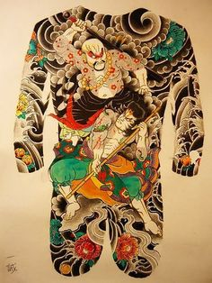 tattoos in japanese prints Backpiece Tattoo, Tattoos Skull, Irezumi Tattoos, Body Tattoos, Sleeve Tattoos, Tengu Tattoo, Tebori Tattoo, Chinese Tattoo Designs, Japanese Tattoo Art