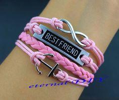 Infinity best friend bracelet anchor bracelet pink by eternalDIY, $5.99