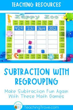 Place subtraction games with regrouping in your math center and make subtraction practice fun and engaging for your second and third grade students. These interactive math games get your kids to practice subtraction with multi-digit numbers and are perfect for homeschoolers too. #subtraction #subtractiongames #subtractionwithregrouping