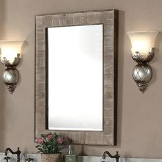 Add a rustic touch to any room with this beautiful wall mirror. Featuring a beautiful driftwood finish on the frame, this mirror is sure to be a stylish accent to any home decor. Frame material: Wood,