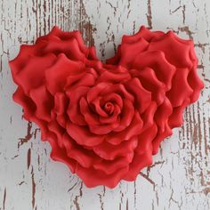 Large Red Gumpaste Heart shaped Sugarflower Rose cake topper perfect for cake decorating fondant cakes. Valentine Heart, Valentine Crafts, Valentines, Valentine Cake, Heart In Nature, Heart Art, I Love Heart, Happy Heart, Hearts And Roses