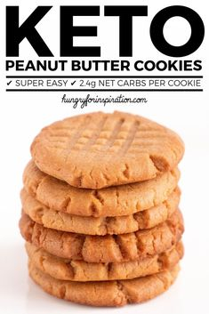The Easiest Keto Peanut Butter Cookies Ever! Only 3 ingredients needed for these super easy Keto Cookies - done in 20 minutes! suitable for the ketogenic diet or low carb diet with only net carbs per cookie. Keto Cookies, Keto Peanut Butter Cookies, Low Carb Peanut Butter, Keto Desserts, Keto Dessert Easy, Keto Snacks, Dessert Recipes, Keto Brownies, Biscuits
