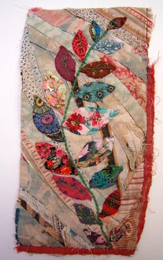 """Mandy Pattullo is a fiber artist who never, ever buys new fabrics. She calls her galleries of work """"thread and thrift"""". This is a collage with piecing, embroidery but no quilting."""