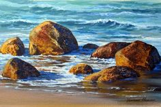 Painting in Acrylic - painting seascapes and oceanscapes How to paint rocks - How to paint beach scenes