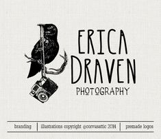 Crow holding Camera logo  Eps and Png file by CorvusAttic on Etsy