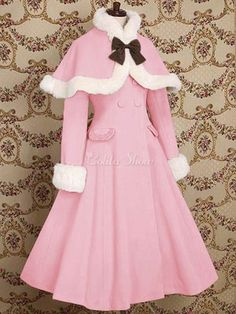 Gothic Lolita Cashmere Woolen Coat Fur Handmade Winter Coat XS-XL Custom-made Fr. Lila Outfits, Mode Outfits, Pretty Outfits, Pretty Dresses, Beautiful Dresses, Skater Outfits, Disney Outfits, Kawaii Fashion, Lolita Fashion