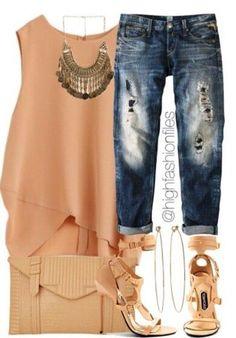 solid, thick strap tank + statement necklace + boyfriend jeans + heels