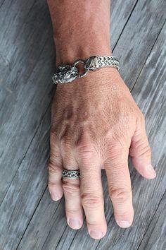 Lion Head Bracelet for Men Stainless Steel Chain Bracelet by Shiny Little Blessings.