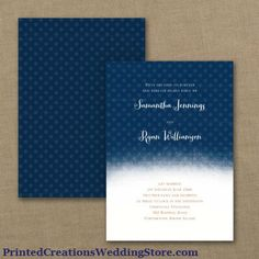 Ombre Dots Invitation features a shading of color from dark to light in your choice of color to match your wedding.   www.PrintedCreationsWeddingStore.com     #polkadotweddinginvitations  #dotsweddinginvitations