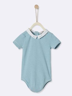 Body rayé bébé - rayé blanc optique   bleu azur ef61deb29a0