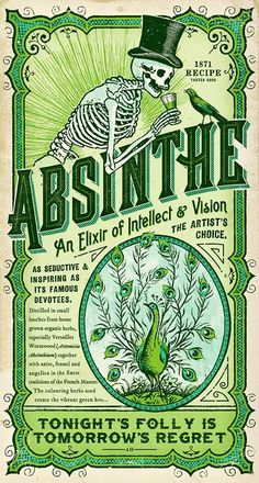 great vintage label for halloween vampires and bohemians favourite tipple Absinthe Label & Print - Adam Hill / Velcrosuit - Graphic Design & Illustration Retro Poster, Poster S, Vintage Posters, Poster Wall, Retro Vintage, Vintage Labels, Vintage Illustration, Graphic Design Illustration, Graphic Illustrations