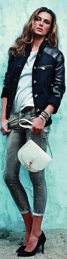 leather / varsity jacket / Elena Baguci / Elle Spain October 2012 / Xavi Gordo