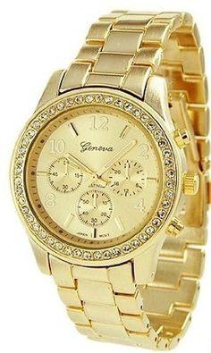 Geneva Platinum 9073 Women s Decorative Chronograph Rhinestone-accented  Link Watch-GOLD Cool Watches 0668750e9c