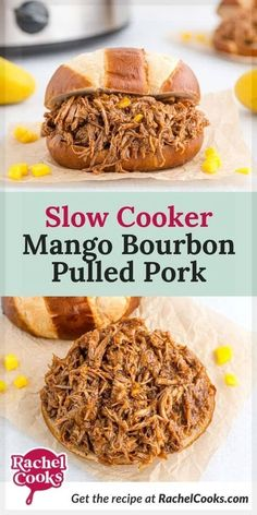 Learn how to make this easy mango bourbon pulled pork in your slow cooker. It has the perfect blend of sweet and spicy -- and the added bourbon makes it absolutely incredible! This is one recipe that everyone loves! It easy to make, but does take a bit of time in the crockpot. It's a great dish to make ahead of time and leftovers are wonderful. We love our pulled pork served on buns for pulled pork sandwiches. But it's very versatile and can even be used to top pizza. A must try recipe! Baked Pork, Grilled Pork, Pork Sandwich, Sandwiches, Crockpot Recipes, Cooking Recipes, Pork Shoulder Roast, Pork Buns, Pulled Pork Recipes