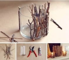 DIY twig candle holder, for that chalet feelDIY Twig Candle Holder- Very Pretty And Creative - SalvabraniThese DIY twig candle holders are absolutely adorable and can be used in almost any theme if you know how to play it up right. Rustic Candle Holders, Rustic Candles, Diy Candles, Driftwood Candle Holders, Making Candles, Homemade Candles, Beeswax Candles, Home Crafts, Diy And Crafts