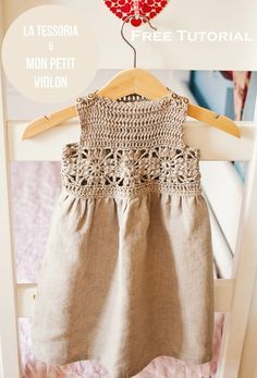 Ravelry: Granny Square Crochet / Fabric Dress pattern by Mon Petit Violon - FREE pattern Crochet Yoke, Crochet Fabric, Crochet Girls, Crochet Baby Clothes, Crochet For Kids, Irish Crochet, Crochet Toddler Dress, Crochet Dress Girl, Sew Dress