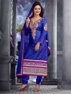 Sensual #Blue color #Cotton #Kurta is beautified with #Resham work front panel and #Zari work. Item Code: SLRBI29003  http://www.bharatplaza.com/new-arrivals/salwar-kameez.html