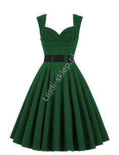 Butelkowo zielona bawełniana sukienka pin-up , green swingdress