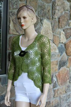 Verde Abacate Crochet Cardigan feitas à mão por CasadeAngelaCrochet