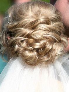 Braided updo. i really like this idea without the veil