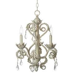 "Crystal 15 1/2"" Wide Antique White Chandelier"