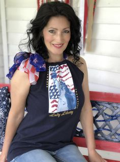 I purchased a $1.00 shirt and scarf from the thriftstore and created this patriotic tank top. Wrap Shirt, T Shirt, Thing 1, Upcycle, Tank Tops, Dresses, Fashion, Supreme T Shirt, Vestidos