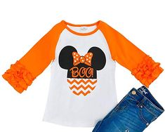 10dba25e9032 Boutique Girls Halloween Ruffles Top Pants Outfit Set - Pumpkin ...