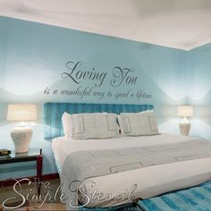 Valentine's Day Vinyl Wall Quotes create a romantic touch to your master bedroom & home decor year round! Design a favorite quote, poem, song lyric. Family Room Walls, Vinyl Wall Lettering, Romantic Decor, Home Decor, Bedroom Wall, Romantic Wall Art, Bedroom, Wall Design, Master Bedrooms Decor