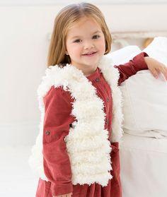 Child's Trendy Fur Vest Free Knitting Pattern in Red Heart Yarns