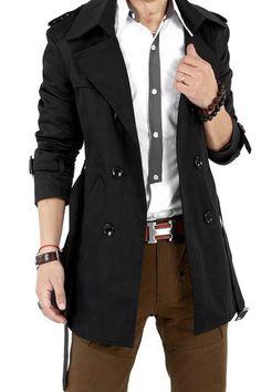 Autumn Trench Coat Men Double Breasted Trench Coat Men Outerwear Casual Coat Men's Jacket Windbreaker Mens Trench Coat Size M Color Black Trench Coat Outfit, Double Breasted Trench Coat, Long Trench Coat, Trench Jacket, Classic Trench Coat, Stylish Coat, Blazer, Mens Fashion, Fashion Pants