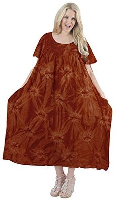 Womens Caftan Cover up RAYON Beachwear HAND Tie Dye Top Casual Beach MAXI DRESS Orange Valentines Day Gifts 2017 -- Check this awesome product by going to the link at the image.