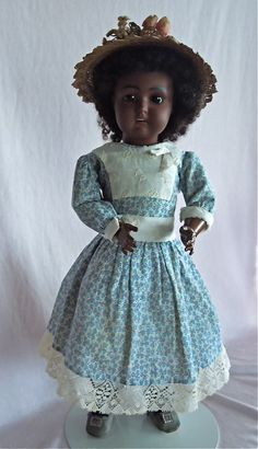 "CHARMING Black 16"" Cabinet Size Kestner Doll from gandtiques on Ruby Lane"