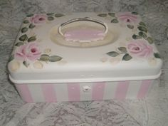 Shabby & Chic Cottage Hp Roses vintage Metal Cash Box-shabby,chic,cottage,vitage,box,pink,roses,hand painted,decor,