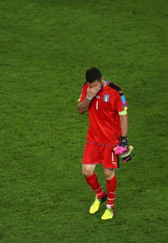 Gianluigi Buffon of Italy shows his dejeciton after his team s defeat  through the penalty shootout during the UEFA EURO 2016 quarter final match  between ... 2bc42e677bf72