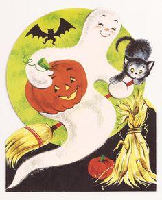 "1963 Eureka 'Ghost With Jack-O-Lantern' Die Cut Decoration. Three Sizes: 6 3/4"", 11"", 16"""