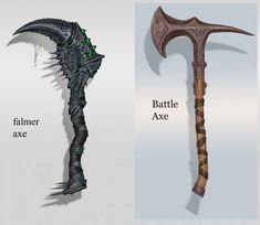 Falmer Hand Axe concept art from The Elder Scrolls V: Skyrim by Adam Adamowicz