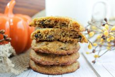 Tender, cake-like chocolate chip cookies filled with delicious pumpkin and cinnamon. These pumpkin chocolate chip cookies are a perfect fall treat! This recipe is