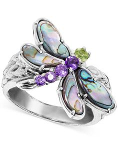 Sterling Silver Jewelry - Glamour goes gossamer with this whimsical dragonfly ring with round-shape peridot and amethyst mixed with fancy-shape abalone set in sterling silver. Silver Jewelry Box, Silver Jewellery Indian, Sterling Silver Jewelry, Diamond Jewelry, Silver Earrings, Silver Ring, Silver Bracelets, Gold Jewellery, Earrings Uk