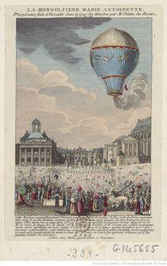 La Montgolfière Marie Antoinette. 2me. expérience faite à Versailles dans la cour des Ministres par Mr. Pilatre des Rosiers le 23 juin 1784 : [estampe]