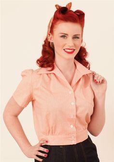 Peach 1940's Work Blouse - Freddies of Pinewood