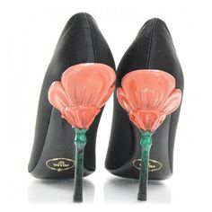 PRADA Satin Flower Heel Pumps 37.5 Black NEW ❤ liked on Polyvore featuring shoes, pumps, satin pumps, peep-toe pumps, black shoes, heels & pumps and flower pumps
