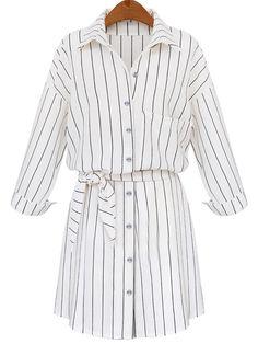 White Lapel Vertical Striped Self-Tie Blouse -SheIn