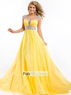 A-line Scoop  Beading  Sleeveless Floor-length Chiffon Prom Dresses / Evening Dresses