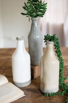 Set Of Three Ceramic Bottles-One Each Color