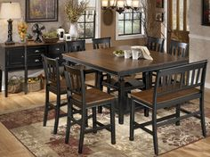 Two-tone finish sets off this counter height dining set. Tall Dining Room Table, Counter Height Dining Sets, Dining Table In Kitchen, Dining Room Sets, Dining Room Design, Dining Area, Dinette Sets, Dining Furniture, Decoration
