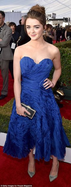 Dazzling display: TheArya Stark actress' electric blue gown was made from swathes of ruch...